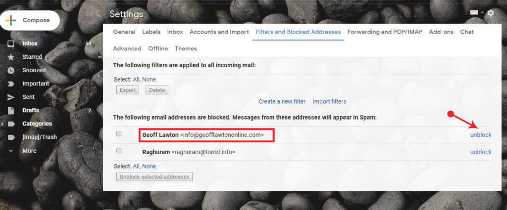 Unblock email on gmail